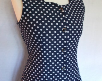 Vintage dress 80s does 20s drop waist flapper style spotted navy dress size medium
