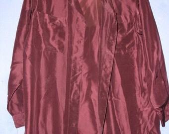 Vintage 90's Burgundy 100% Silk Shirt