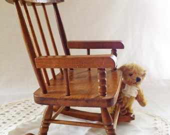 Vintage Wooden Rocking Chair For Dolls Or Teddy Bear