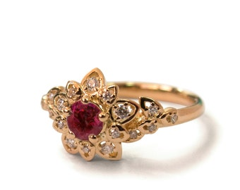 Ruby Art Deco Petal Engagement Ring - 14K Rose Gold and Ruby engagement ring, leaf ring, flower ring,vintage,halo ring, Ruby and Diamonds,2B