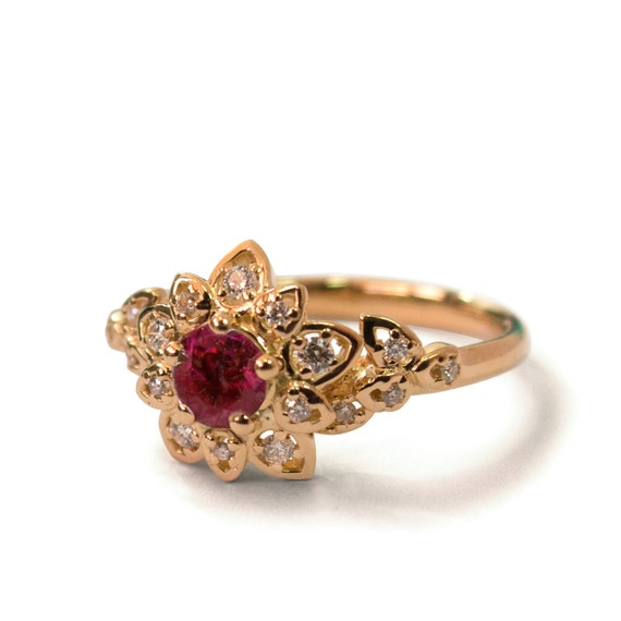 Items Similar To Ruby Art Deco Petal Engagement Ring 14K Rose Gold And Ruby