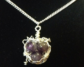 Amethyst Birds Nest Necklace