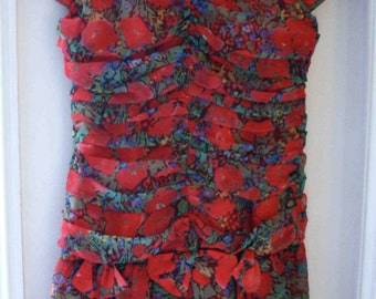 Dress sleeveless red floral T36