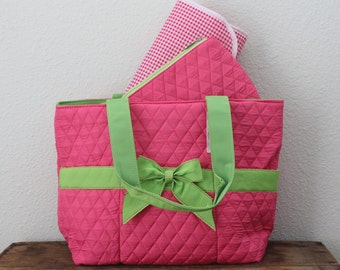 SALE - Personalized Quilted Pink and Green Diaper Bag Set -  Pink and Green Baby Tote Set