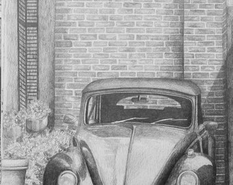 Volkswagon Bug Pencil Drawing Original Drawing Graphite Drawing Volkswagon Art Original Art Pencil Art Graphite