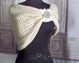 Wedding Shawl With Rhinestone Brooch Crochet Shrug Stole Shoulder Wrap Bridesmaids Shoulder Cover Wedding Dress Cover Caplet