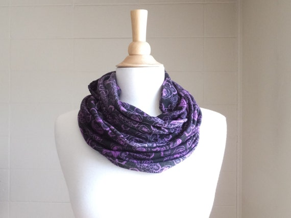 Black Rose Floral Infinity Scarf floral print circle scarf purple orchid rose flower, cowl scarf fashion accessory