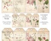 PARIS BOTANICAL TAGS digital collage sheet, Download vintage images, pink flowers red fruit floral Victorian art, shabby ephemera printables
