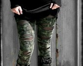 BROKEN - Military Leggings Army Green Wasteland Post Apocalyptic Distressed