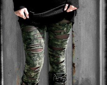 BROKEN - Military Distressed Leggings Army Green Post Apocalyptic Wasteland Handmade painted