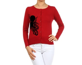 Plus Size Cardigan Sweater Octopus Women's Shirts Trendy Fall Clothing Nautical Sweatshirt Screen Print Red Sweaters Button Up Warm and Cozy