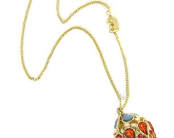 Birdhouse Jewelry - Coral and Turquoise Egg Necklace