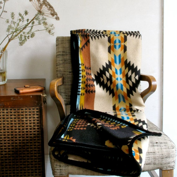Wool Blanket Native American Design in Gold Black Teal