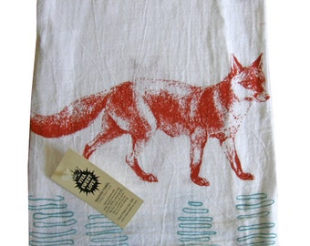 Fox Kitchen Dish Towel -Soft Cotton Flour Sack-Tea Towel -Hostess Gift-Bridal Shower Gift- Wedding Gift-Housewarming Gift