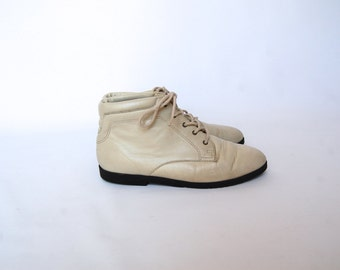 white leather lace up boots 7
