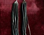 Midnight Rider Long Black Leather Fringe Tassel Earrings / Black Fringe Earrings / Leather Fringe Earrings
