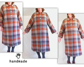 SALE - Swing Coat and Hat - plus size, full length winter coat, matching hat, handmade in vintage plaid wool fabric, XXL -- 62B-55W-62H