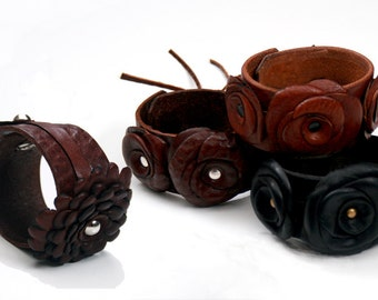 Leather Cuff with Leather Flowers, Flower Leather Cuff Bracelet, Boho Gypsy Goth Jewelry, Black Brown Cognac Wide Leather Wrist Band Strap