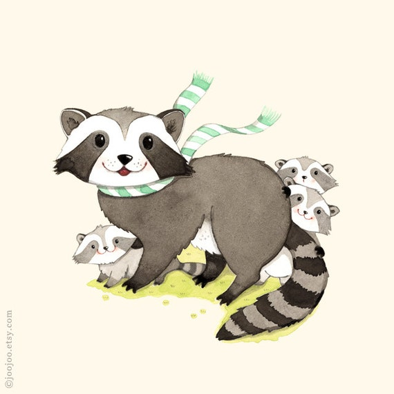 woodland wall art Raccoon print Baby raccoon Baby nursery Raccoon Painting