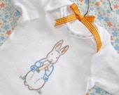 Peter Rabbit (Boy or Girl) - Beatrix Potter Gerber Onesie - Hand Embroidered