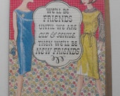 Vintage Reproduction Friendship Card Handmade Collage Art Hand stamped Blank inside