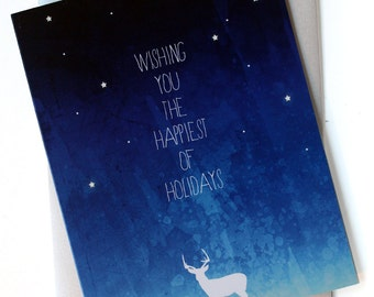 Christmas Cards / Holiday cards - Set of 8 - Starry Night Deer