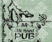 Digital Download Pub Sign Banner Frame Border with Hound Dog, digi stamp, digis, Antique Illustration Add Photos or Text