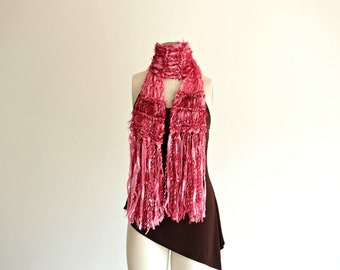 Pink Ribbon Scarf, Pretty Pink and Burgundy Soft Scarf with Long Fringe