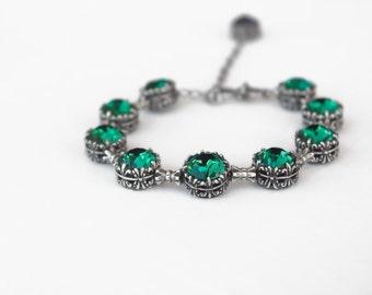 Emerald Bracelet Swarovski Bracelet Oxidized Silver Tennis Bracelet Green // Swarovski Jewelry Green Jewelry