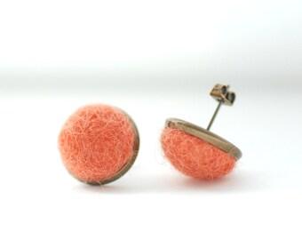Dark Peach Stud Earrings, Felted Wool Earrings, Salmon Pink Earrings, Pastel Jewelry, Fibre Jewelry, Post Earrings, Brass Studs