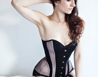 Thalia overbust corset- steel-boned black with blush pink accents and dotted netting overlays, s-curve Edwardian corset, over bust vintage