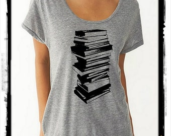 Stack of Books boho slouchy t shirt Dreamer tee tshirt screenprint ladies scoop top