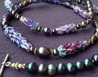 Lavender Fields Necklace handmade lavender glass beads pearls and sterling silver
