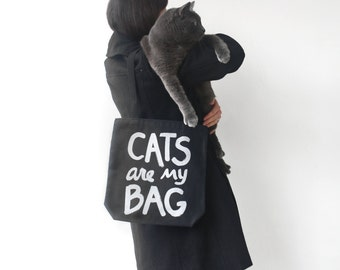 CATS are my BAG Tote, metallic print, stocking stuffer, gift for women, crazy cat lady funny tote bag cat lover canvas tote bag bookworm