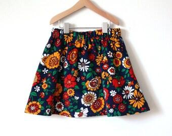 s a l e // GIRLS SKIRT / size 2T /  floral vintage corduroy cotton