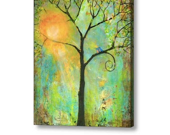 Oversized Wall Art Extra Large Stretched Canvas Print 40X50 Giclee Blue Birds Art Tree of Life Decor Gift For Couple