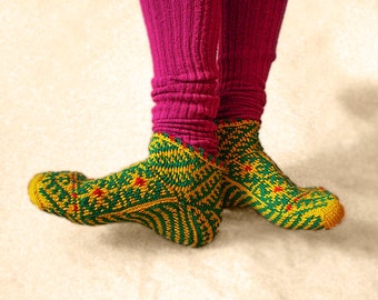 Knitted Yellow, Green and Red Slipper Socks