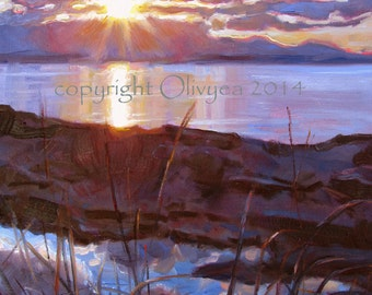 """Beach Sunset Painting, Original Oil on Canvas, Ocean, Whidbey Island Landscape, Pacific Northwest...16 x 20"""""""