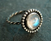 Moonstone Ring in Sterling Silver with Granulated Setting - Made to Order - Rose Cut Rainbow Moonstone - June Birthstone - Statement Ring