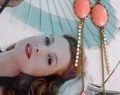 Coral Pink Earrings - Coral and Pearls - Vintage Findings - Leaves Earrings - Vintage Inspired Jewelry - Mara Earrings (SD796)