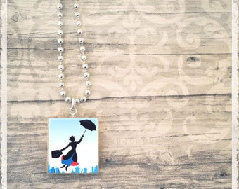 Scrabble Tile Art Pendant, Mary Poppin Umbrella,  Scrabble Tile Necklace, Mary Poppin Necklace, Gift for Her, Custom Jewelry, Choose Style
