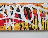 Horizontal REACT signature. Acrylic canvas painting