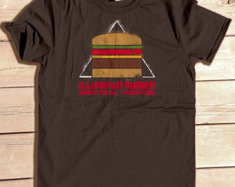Illuminati Burger Tshirt, funny food shirt, conspiracy theory shirt, Hamburger Tshirt, Graphic Tee, Foodie Gifts, Stencil Art Shirt