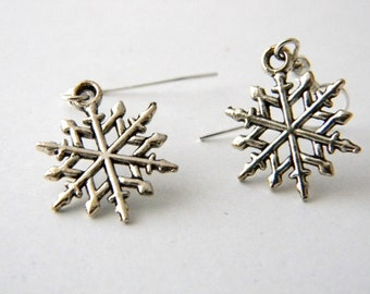 Snowflake Earrings Silver Color Dangle Earrings Winter Earrings