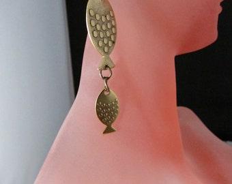 BRASS FISH Earrings, Whimsical Long Earring