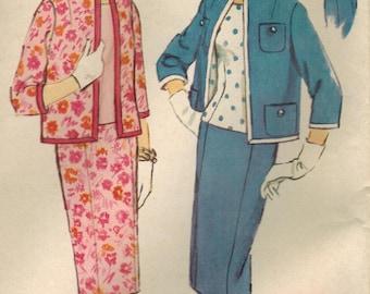 1950s Simplicity 2928 UNCUT Vintage Sewing Pattern Misses Half Size Slenderette Suit, Skirt, Blouse, Jacket Size 18-1/2 Bust 39