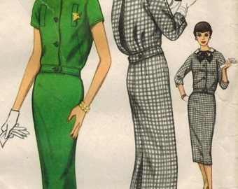 1950s Simplicity 2410 Vintage Sewing Pattern Misses Two-Piece Dress, Top, Pencil Skirt Size 16 Bust 36