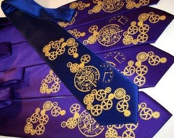 7 mens neckties. custom colors available, steampunk clock works design wedding ties