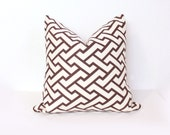 "CLEARANCE SALE 20"" Designer Pillow in Quadrille Aga Brown on Tint"