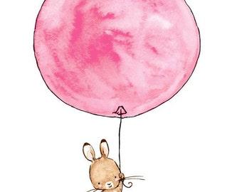Nursery Art -- Up and Away Bunny -- Archival Print